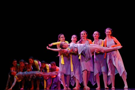 improvisation: DNEPROPETROVSK,UKRAINE - December 13, 2014 : School-theater of Contemporary dance POTOKI,Dnepropetrovsk Teenager class dancers perform composition Go to the Riverat Winter Annual Entertainment Let the Sun in