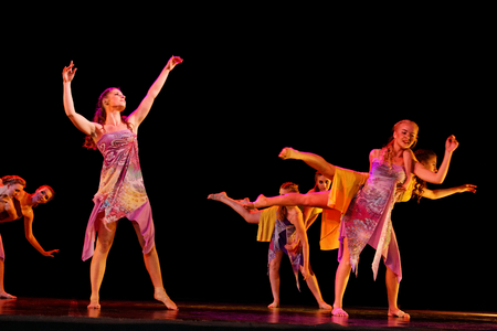 DNEPROPETROVSK,UKRAINE - December 13, 2014 : School-theater of Contemporary dance POTOKI,Dnepropetrovsk  Student class dancers perform at Winter Annual Entertainment Let the Sun in