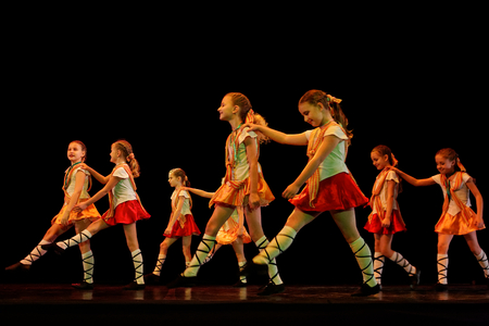 DNEPROPETROVSK,UKRAINE - December 13, 2014 : School-theatre of Contemporary dance POTOKI,Dnepropetrovsk Children class at Winter Annual Entertainment \\\\\\\Let the Sun in \\\\\\\ Editorial
