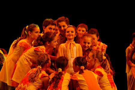 DNEPROPETROVSK,UKRAINE - December 13, 2014 : School-theatre of Contemporary dance POTOKI,Dnepropetrovsk Children class at Winter Annual Entertainment Let the Sun in Editorial