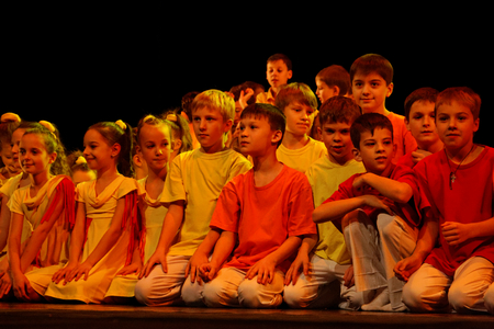 DNEPROPETROVSK,UKRAINE - December 13, 2014 : School-theatre of Contemporary dance POTOKI,Dnepropetrovsk at Winter Annual Entertainment Let the Sun in