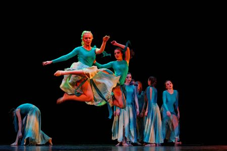 frienship: DNEPROPETROVSK,UKRAINE - DECEMBER 13, 2014 - School-theater of Contemporary dance POTOKI, Dnepropetrovsk, student and adult classes dancers perform at  Winter Annual Entertainment Let the Sun in