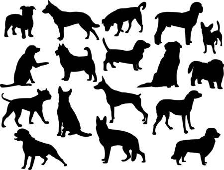 doberman: Hunde silhouette Auflistung  Illustration