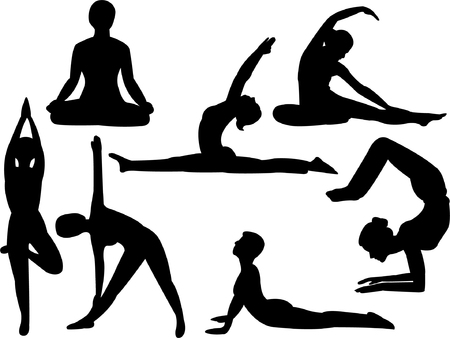 calm woman: yoga silhouette collection   Illustration