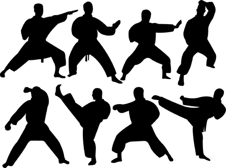 individual sports: karate silhouette collection   Illustration