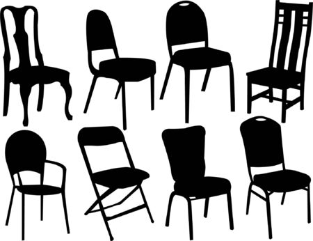 chairs silhouette collection vector Vector