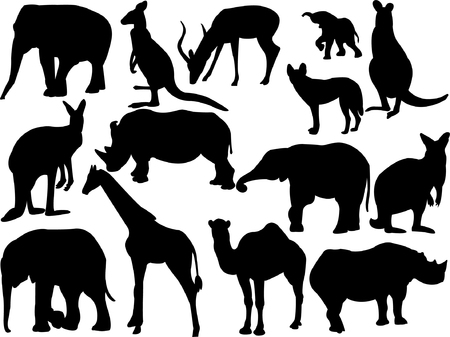 wild animals silhouette collection vector Vector