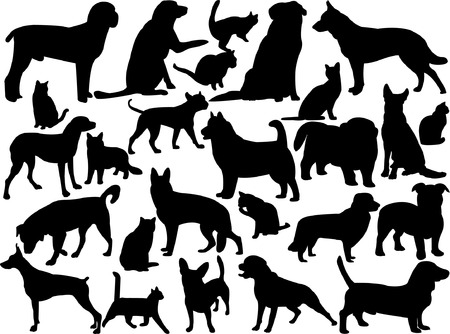 cats and dogs silhouette - vector Vector