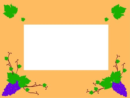 abstract frame with blue grapes  Illustration