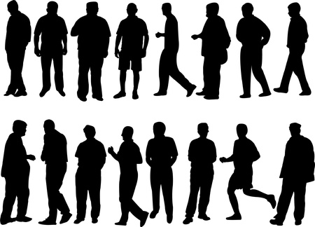 parejas caminando: colecci�n de silueta de personas - vector