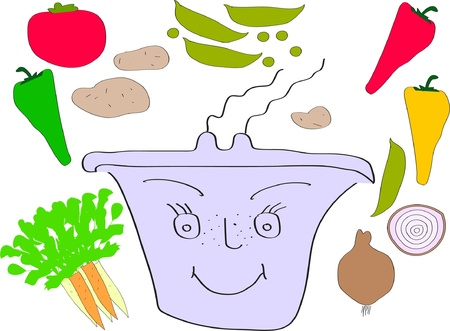 happy pot with vegetables - vector Illustration