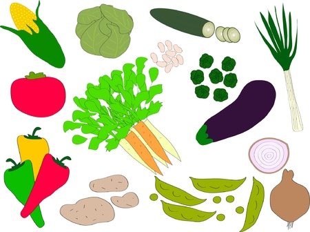 green peas: illustration of vegetables - vector Illustration