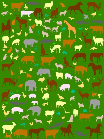 collection of mix color animals  Vector