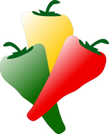 Colored peppers - vector Vector