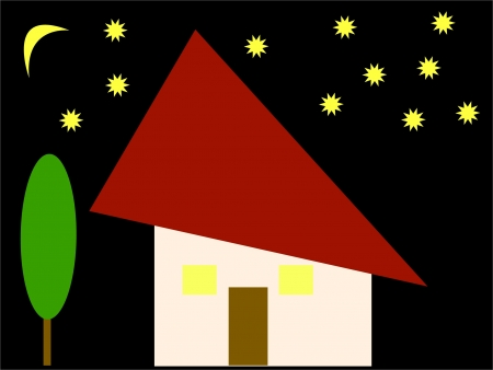 house in the starry night - vector Vector