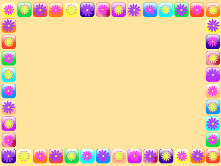 pearls and threads: frame with flowers - vector Illustration