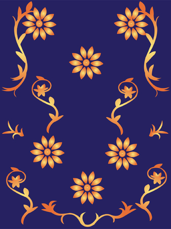 wallpaper with flowers 2 - vector Illustration