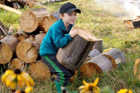 Young village boy bringing hard firewood  Stock Photo - 6661594