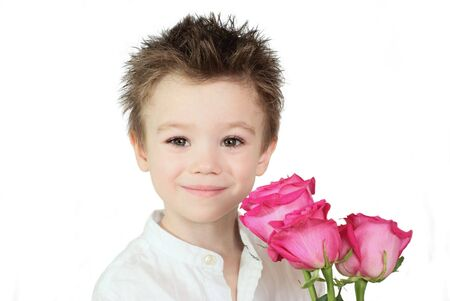 Boy and roses Stock Photo
