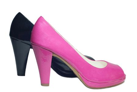 Pair of pink and black shoes photo