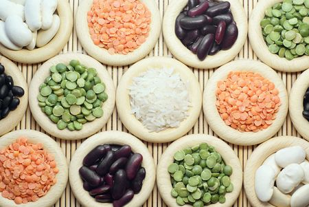 Grasses of lentils, peas, rice and haricots  Stock Photo