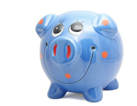 Blue piggy bank isolated on white background photo