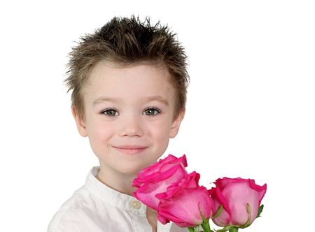 Young boy with pink roses on white background Stock Photo