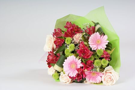 miscellaneous: Bouquet of miscellaneous flowers on grey background