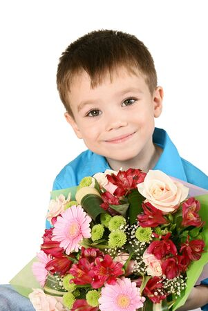 One boy with bouquet of miscellaneous flowers isolated on white background