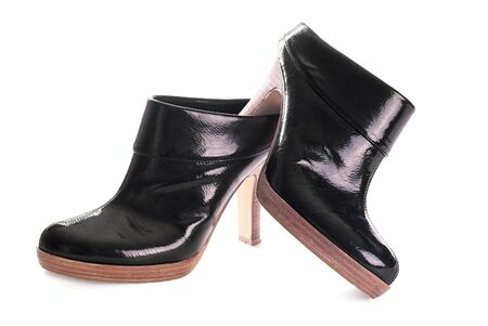 Pair of black ankle boots photo