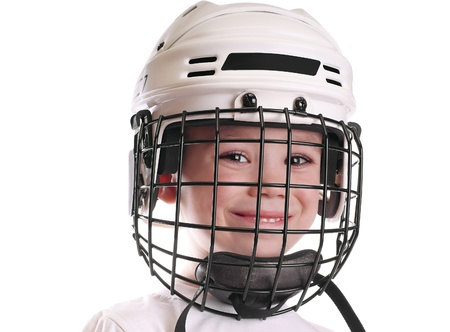 Boy in hockey helmet photo