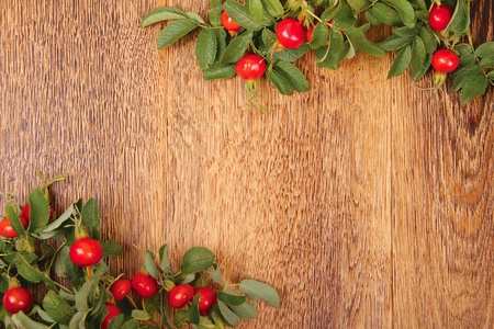 Dogrose on a wooden surface Stock Photo - 10481213