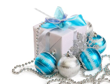 christmas baubles of modern design: Christmas gift box Stock Photo