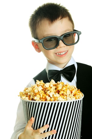 Boy with popcorn photo
