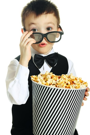 stereoscopic: Boy with popcorn