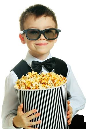 Boy with popcorn Stock Photo - 16754592