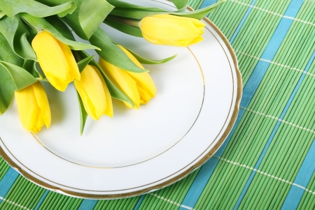 placemats: Tulips on placemats Stock Photo