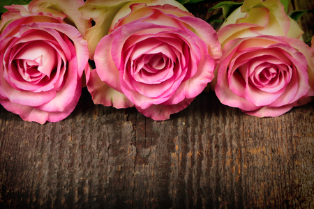 Bouquet of pink roses on old wooden background
