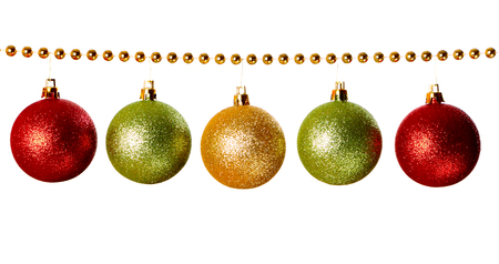 Gold beads garland with balls isolated on white background  Stock Photo
