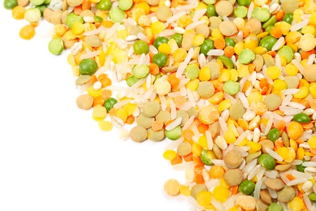 medley: Soup medley. Background with a picture of grain and cereals