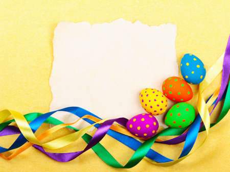 Easter card. Old paper with decorations on yellow background. Stock photo photo