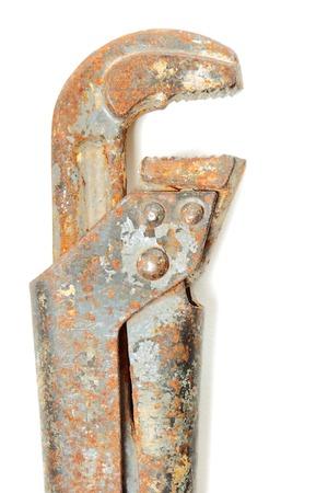 alligator wrench: Used alligator wrench isolated on white background. Stock photo