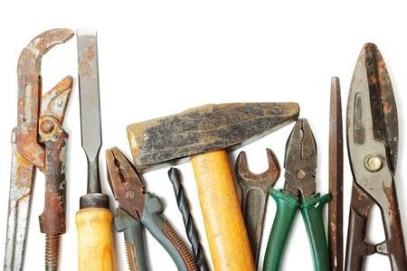 alligator wrench: Used tools isolated on white background Stock Photo