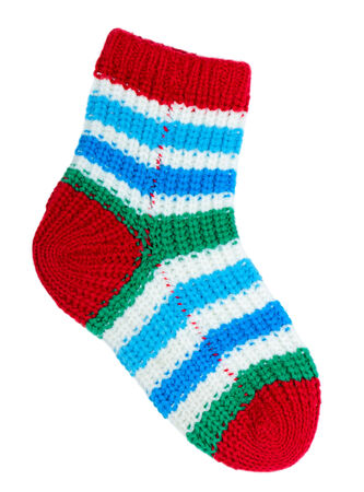 One colorful sock isolated on white background Stock Photo