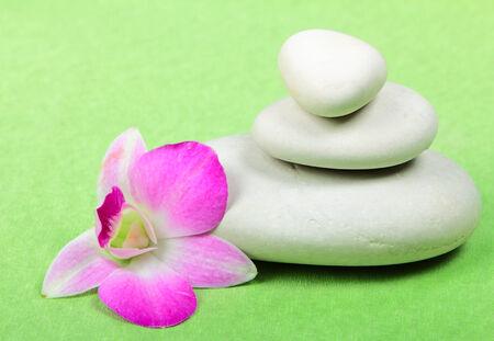 Pyramid of the stones with orchid on green background photo