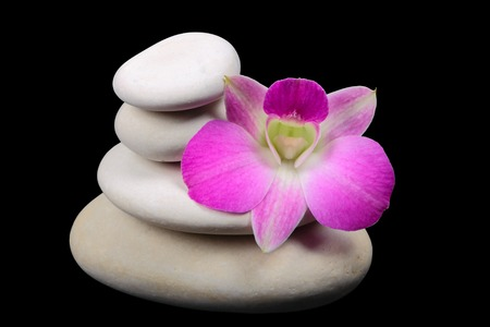 Pyramid of the stones with orchid on black background photo
