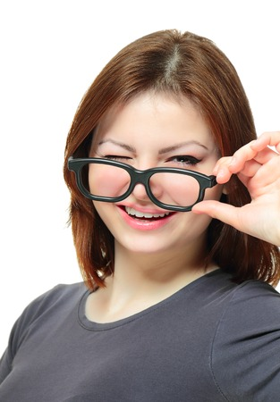 collegian: Portrait of a young lady wearing glasses with black frame on white background