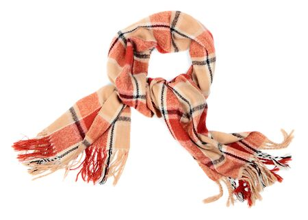 checkered scarf: Checkered wool scarf on pure white background