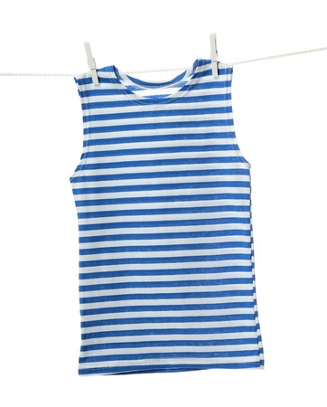 striped vest: Striped vest hanging on the clothesline. Image isolated on white background