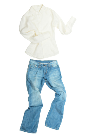 blue shirt: Run away clothes isolated on white background Stock Photo